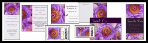 Purple Asian Lotus Flower Wedding Invitation Collection