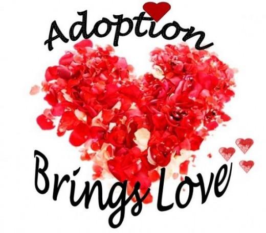 Red Rose Petal Heart Design - Adoption Brings Love