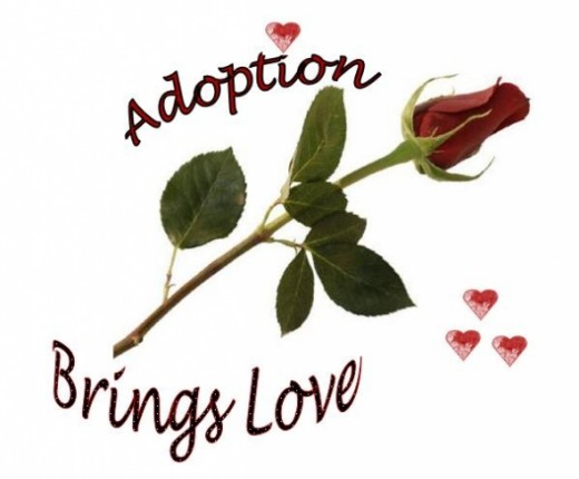 Red Rose and Hearts Design - Adoption Brings Love