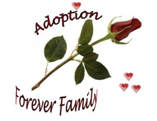 Red Rose and Hearts Design - Adoption Forever Family