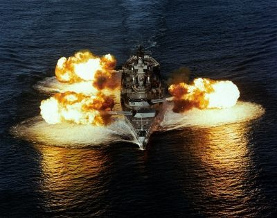 USS New Jersey Firing Exercise