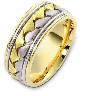 Mens titanium and gold wedding band
