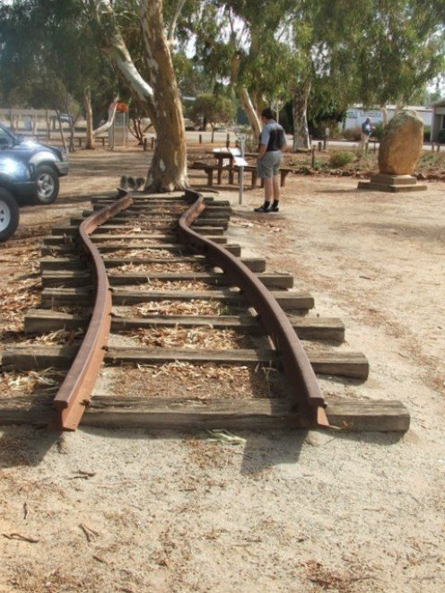 Twisted railtrack from the Meckering Earthquake 1968, Australia