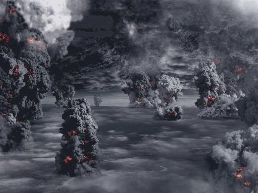 An erupting supervolcano