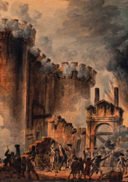 Storming of the Bastille during the French Revolution. Artist: Jean-Pierre Houël (1735-1813)