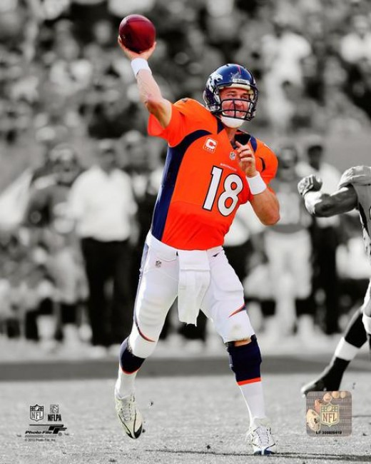 Peyton Manning Black and White Color Brocos Picture