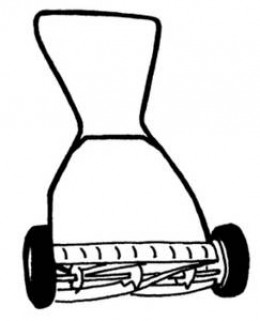 A typical push mower, also called a reel mower. From www.clipartguide.com