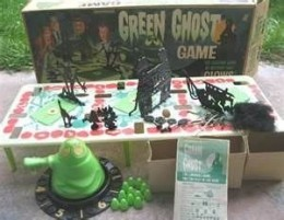 Green Ghost Game was played in the dark and had trap doors with creepy things inside and green ghosts.