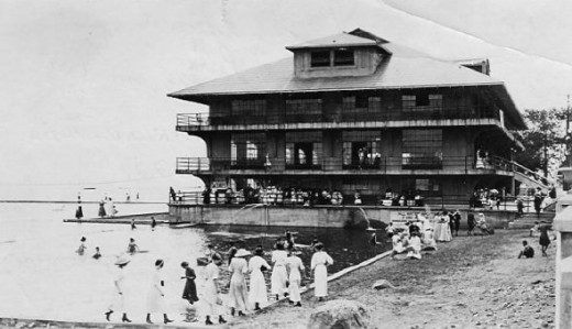 Most of the park's shoreline was rocky, so a swimming pool and a children's wading pool were built. In between them rose the magnificent Casino. A bath house occupied the first floor. A bowling alley, dance hall, and restaurant occupied the other flo