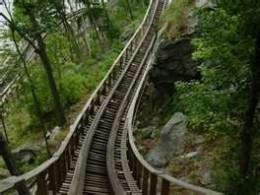 Boulder Dash's wooden track fits neatly in the natural wooded environment.