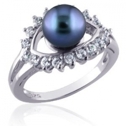 Silver Dress Ring With Cultured Gray Pearl