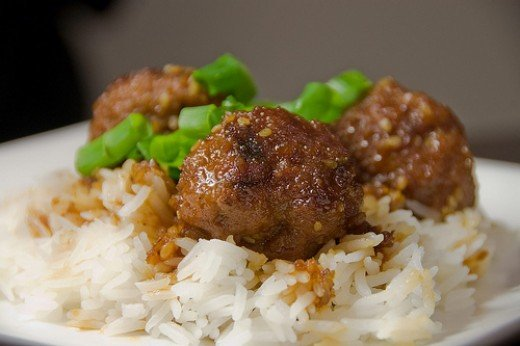 Teriyaki Turkey Meatballs as Toppings on Steamed Rice (Photo courtesy by rkazda from Flickr)