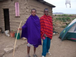 Some local Maasai boys at the village, who were more interested in my tent than in me.