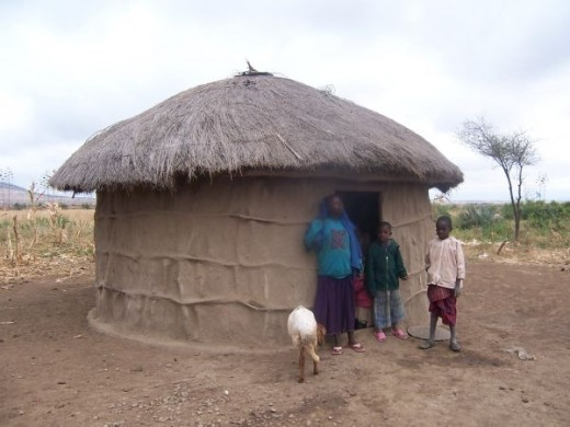 Typical Maasai hut made from clay and straw.