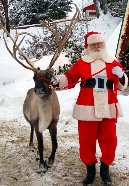 Santa and Blitzen take a walk.