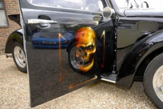 Sprayed art on a car door