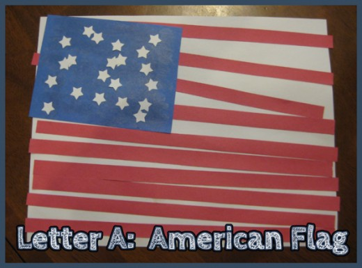 Letter A American Flag