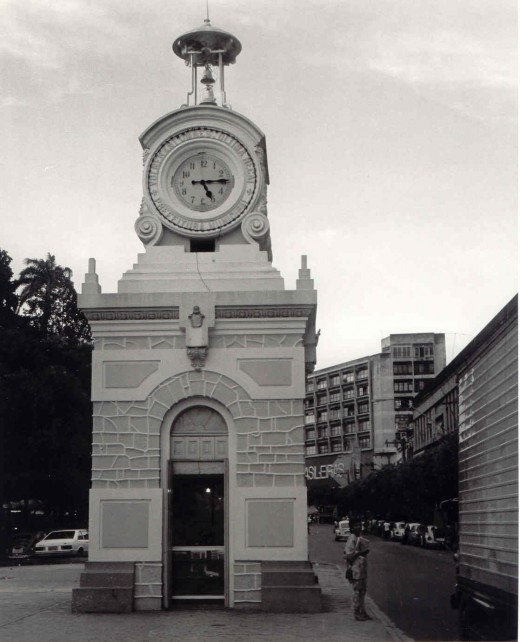 Kiosk with Clock in Main Square Downtown Manaus