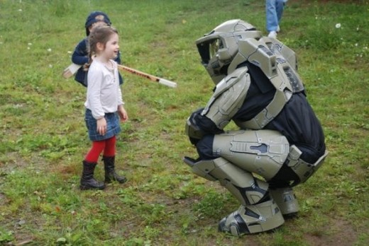 This young girl kept asking to see who was behind the visor? Was it a person? An alien? A robot? Naw, just your friendly neighborhood Dave.