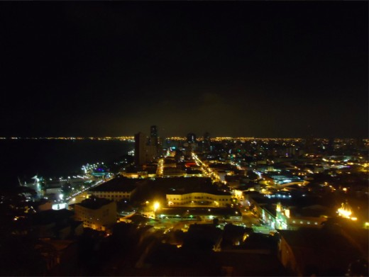 Guayaquil by night taken from Las Peñas