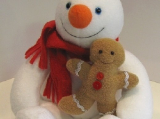 snowman toy pattern close up