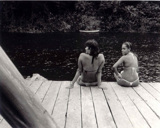 Two Brazilian girls from the tour group prepare for a swim.