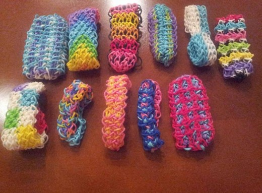 Various bracelets from Rainbow Loom Classic Patterns