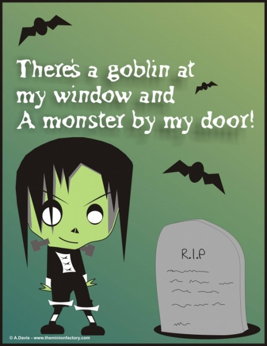 Halloween Monster, bats and Grave cartoon by Abie Davis