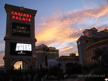 Caesars Palace at sunset on December 25, 2006