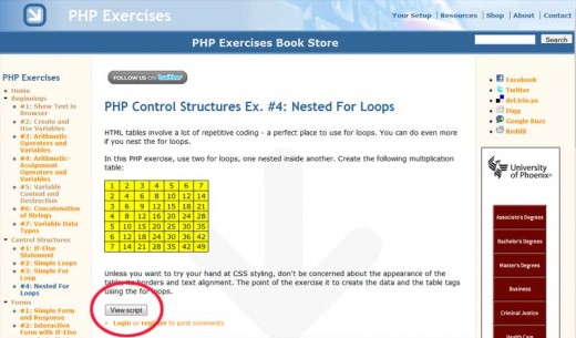 Example PHP Exercise: Nested For Loops