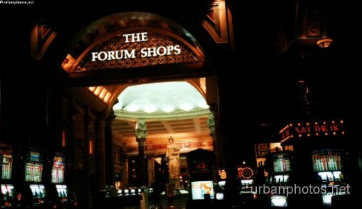 The doorway from Caesars Palace Forum Casino to the Forum Shops