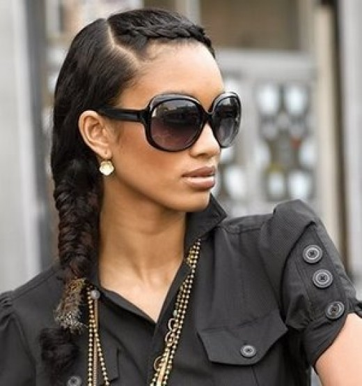side part long braid hairstyle