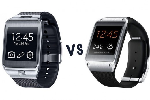 Samsung Gear 2 vs. Original Galaxy Gear (right)