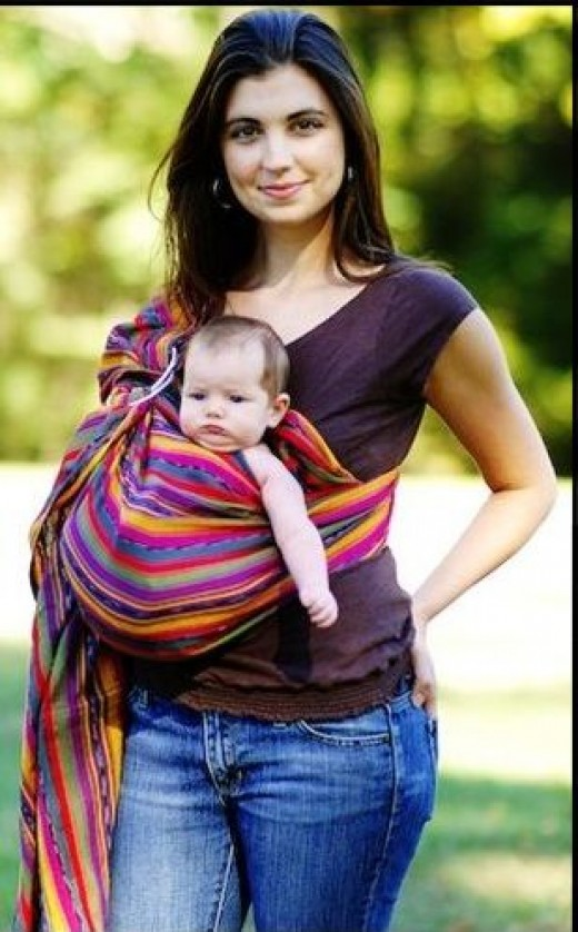 Outward-facing baby in Maya wrap