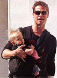 Brad Pitt with baby in sling