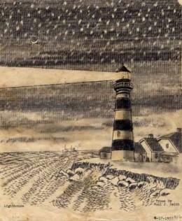 """Lighthouse on a Starry Night"""