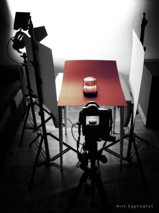 A simple studio setup for photographing a model car