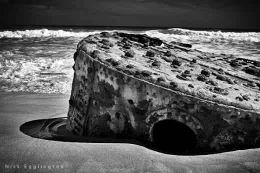 Old wrecked ships boiler
