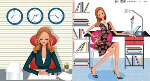 Female white-collar office fashion illustrator