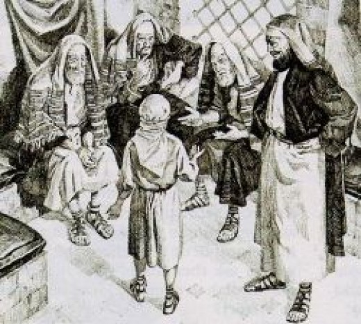 Yeshua at 12, teaches at the temple.