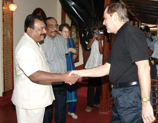V. Prabhakaran with Norway Foreign Minister Jan Petersen.