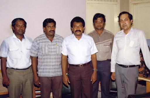 V. Prabhakaran, Swarnam, Mahatiya and Yogi with 'THE HINDU' N. Ram