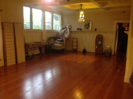 The workshop space at Healing Oasis in Hilo, Hawaii.