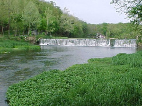 The Jolly Mill Dam. Seven acres of fishing pond are available at the mill. (Lee Price, SMFF Conservation Liaison)