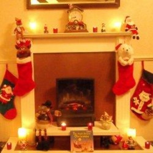 My fireplace on Christmas Eve, all ready for Santa Claus