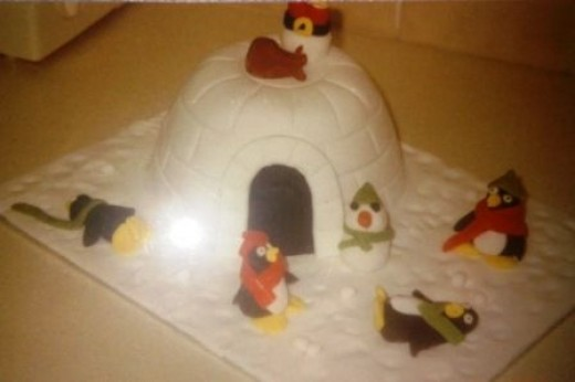 Playing Penguins Igloo Christmas Cake