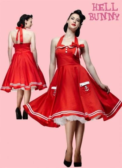 Red Motley Sailor 50s Dress