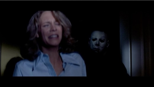 Michael Myers stalking his sister, Laurie Strode (Jamie Lee Curtis)