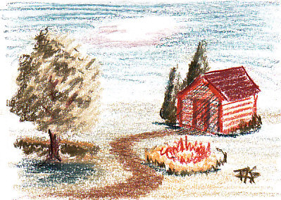 I sketched a little scene from imagination in Derwent Drawing Pencils for an example. Robert A. Sloan
