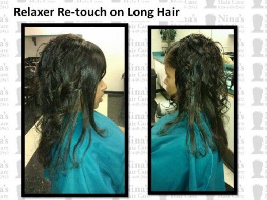 Relaxer Re-touch on Long Hair